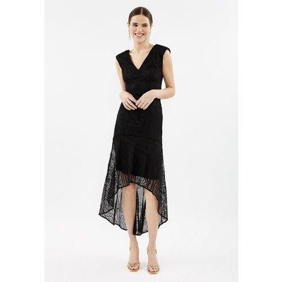 Plus Size Lace High Low Peplum Dress Black, Black
