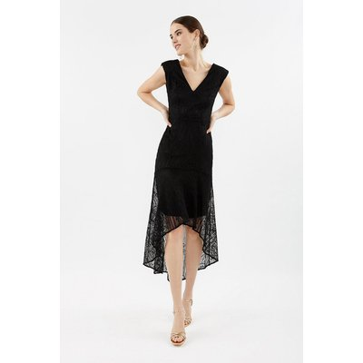Lace High Low Peplum Dress Black, Black