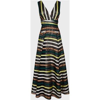 Coast Stripe Jacquard V Neck Maxi Dress, Multi