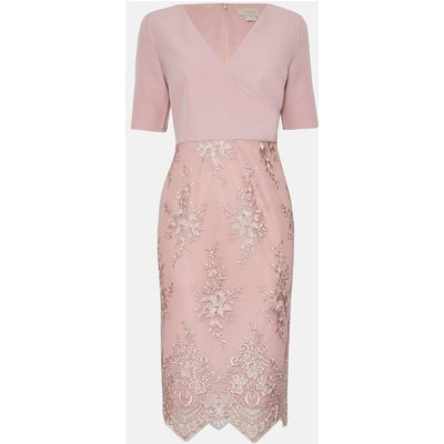 Coast Wrap Front Embroidered Midi Skirt Dress, Pink