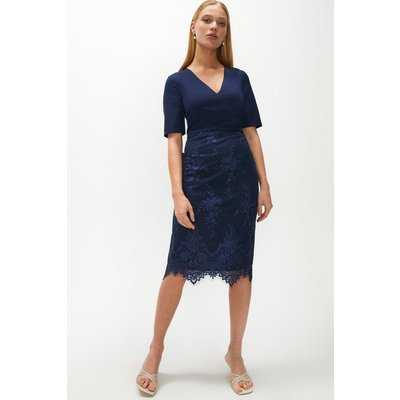 Coast Wrap Front Embroidered Midi Skirt Dress, Navy