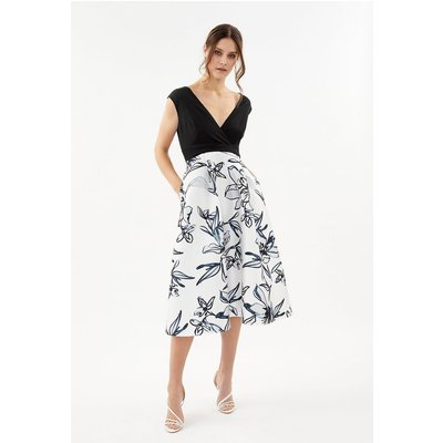Coast Printed Wrap Full Skirt Midi Dress, Ivory