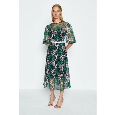 Coast Puff Sleeve Embroidered Midi Dress, Green