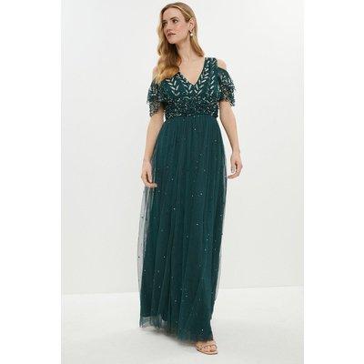 Coast Cold Shoulder Scattered Embellished Maxi Dress, Green