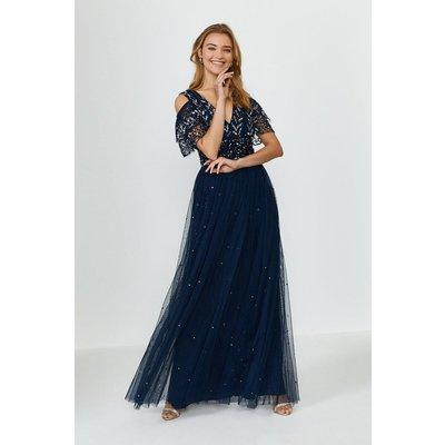 Coast Cold Shoulder Scattered Embellished Maxi Dress -, Navy