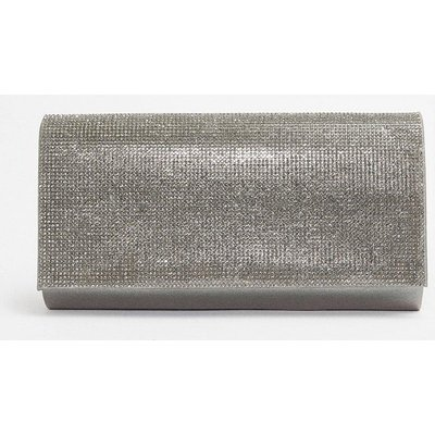 Coast Diamante Flap Clutch Bag, Silver