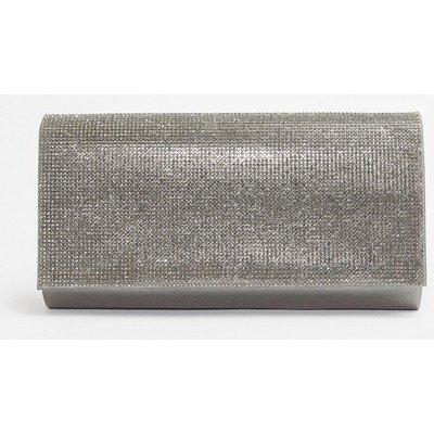 Diamante Flap Clutch Bag Silver, Silver