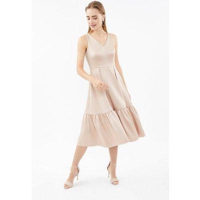 V Neck Twill Dirndl Hem Dress Natural, Natural
