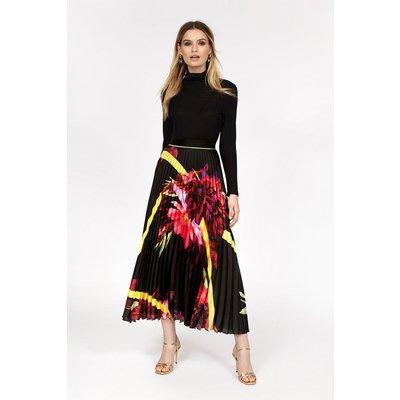 Floral Pleated Midi Skirt Multi, Multi