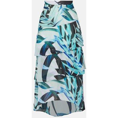 Coast Palm Print Midi Skirt, Blue