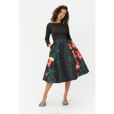 Printed Full Skirt Midi Dress Multi, Multi