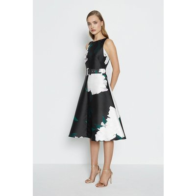 Belted Twill Full Skirted Dress Black, Black