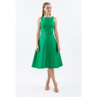 Coast Belted Twill Full Skirted Dress, Green
