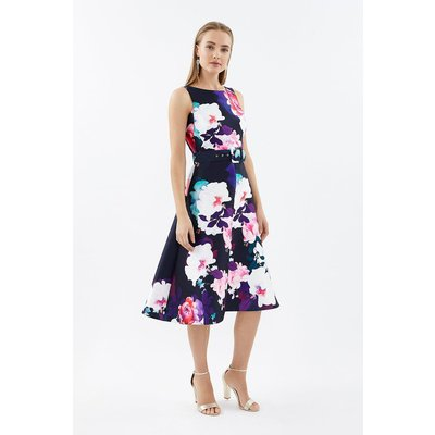 Coast Belted Twill Full Skirted Dress, Navy