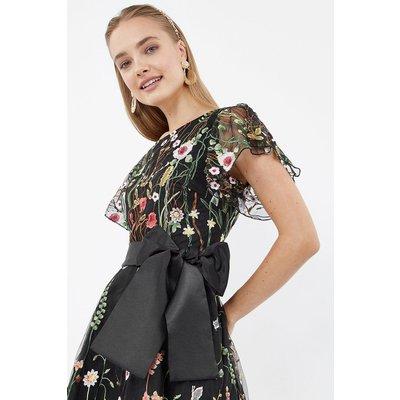 Embroidered Flute Sleeve Dress Multi, Multi