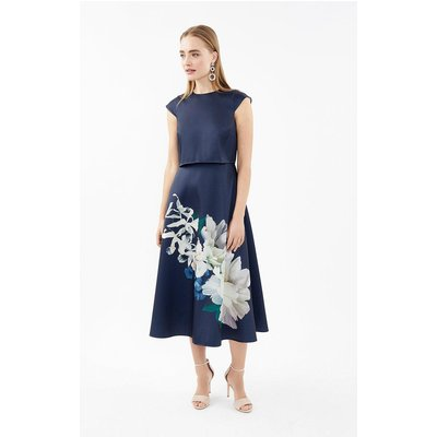Coast Floral Cap Sleeve Full Skirted Shelf Dress, Navy