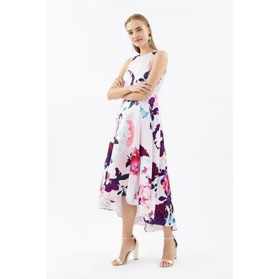 Seamed Printed Hi Low Twill Dress Pink, Pink