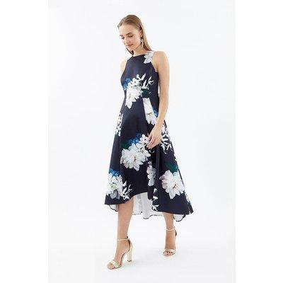 Seamed Printed Hi Low Twill Dress Navy, Navy