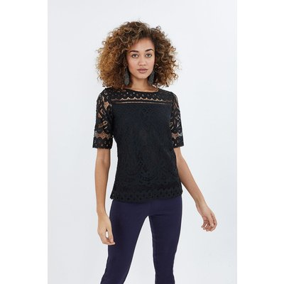 Lace Jersey Top Black, Black