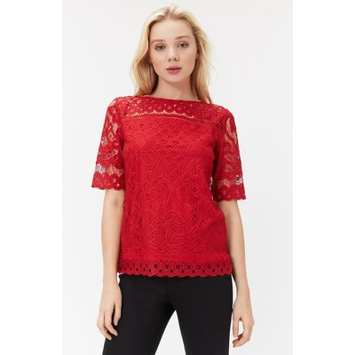 Lace Jersey Top Red, Red