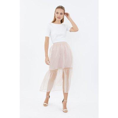 Coast Tiered Organza Midi Skirt -, Pink