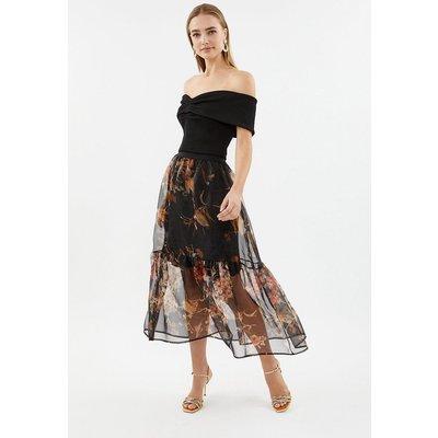 Coast Tiered Organza Printed Midi Skirt, Multi