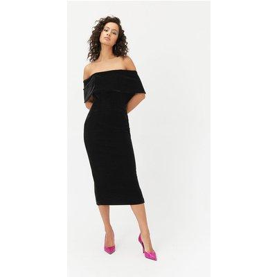 Velvet Bardot Midi Dress Black, Black