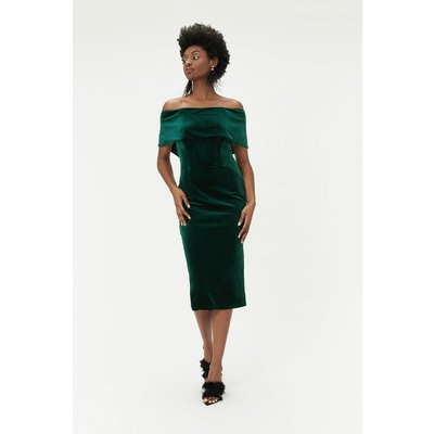Velvet Bardot Midi Dress Green, Green
