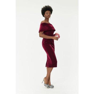 Velvet Bardot Midi Dress Plum, Red