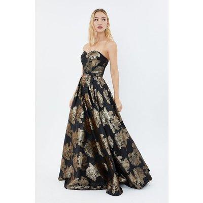 Floral Jacquard Bandeau Maxi Dress Gold, Gold