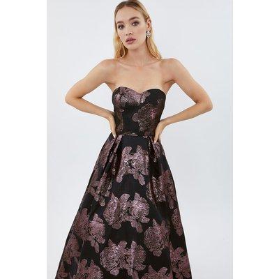 Floral Jacquard Bandeau Maxi Dress Pink, Pink