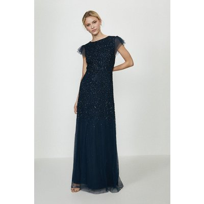 Coast Angel Sleeve Sequin Maxi Dress -, Navy