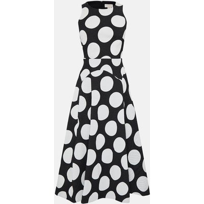 Coast Sleeveless Full Midi Spot Dress, Blackwhite
