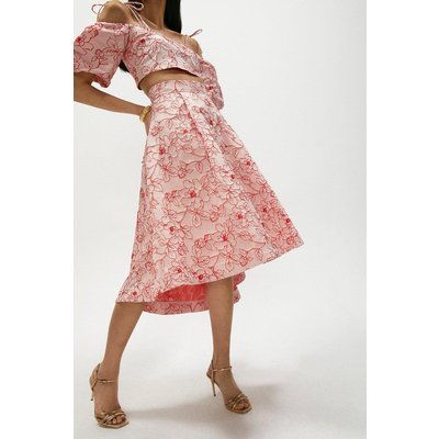 Coast Jacquard Full Midi Skirt -, Pink