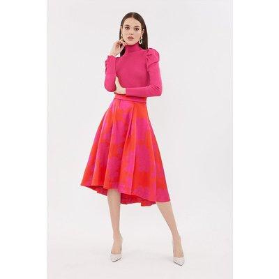 Jacquard Full Midi Skirt Pink, Pink