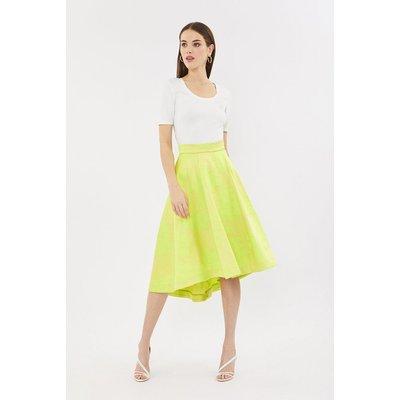 Coast Jacquard Full Midi Skirt, Yellow