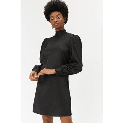 Metallic High Neck Shift Dress Black, Black