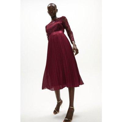 Coast Embroidered Long Sleeve Midi Dress, Aubergine