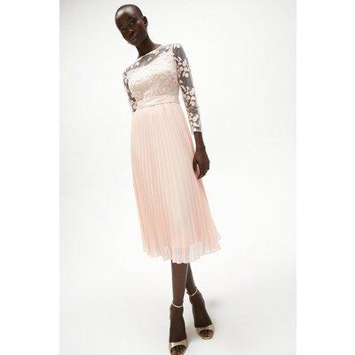Coast Embroidered Long Sleeve Midi Dress, Pink