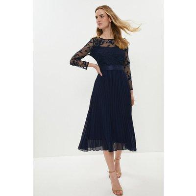 Coast Embroidered Long Sleeve Midi Dress, Navy