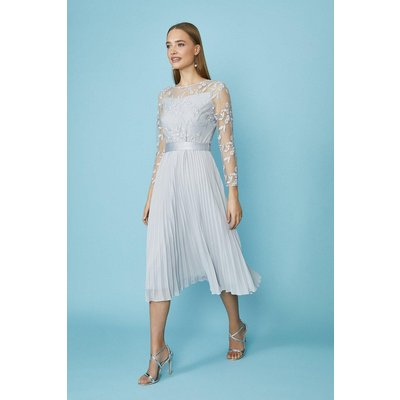 Coast Embroidered Long Sleeve Midi Dress -, Silver
