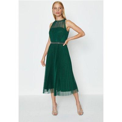 Coast Mesh Pleated Midi Dress, Green