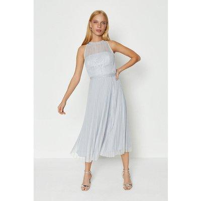 Mesh Pleat Midi Dress Silver, Silver