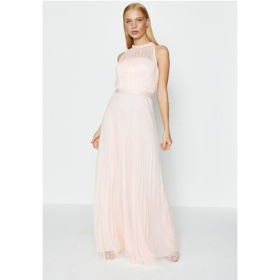Coast Mesh Pleat Maxi Bridesmaid Dress, Pink