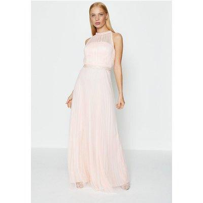 Mesh Pleat Maxi Dress Pink, Pink