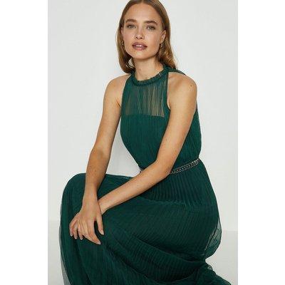 Coast Mesh Pleat Maxi Dress, Green