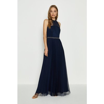Mesh Pleat Maxi Bridesmaid Dress Navy, Navy
