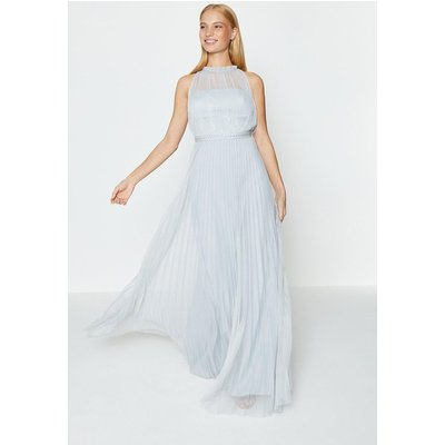 Mesh Pleat Maxi Dress Silver, Silver