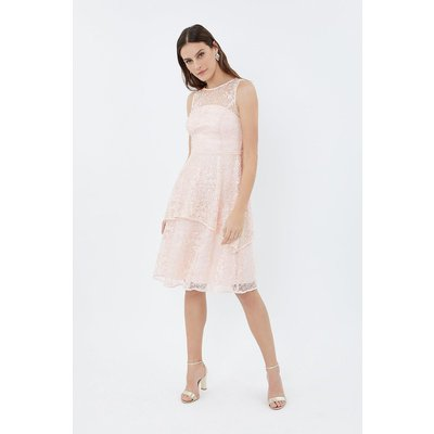 Coast Sleeveless Lace Tiered Bridesmaid Dress, Pink