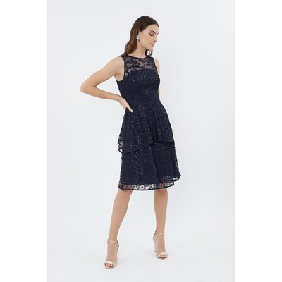 Lace Tiered Dress Navy, Navy